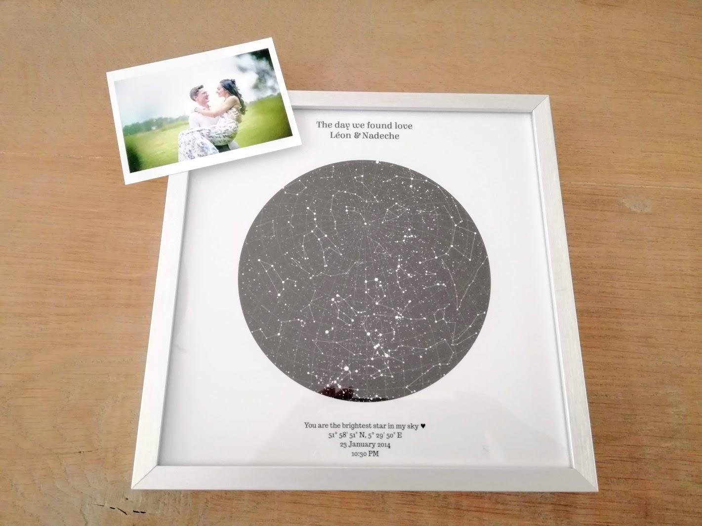 Een personalised star map als interieur item