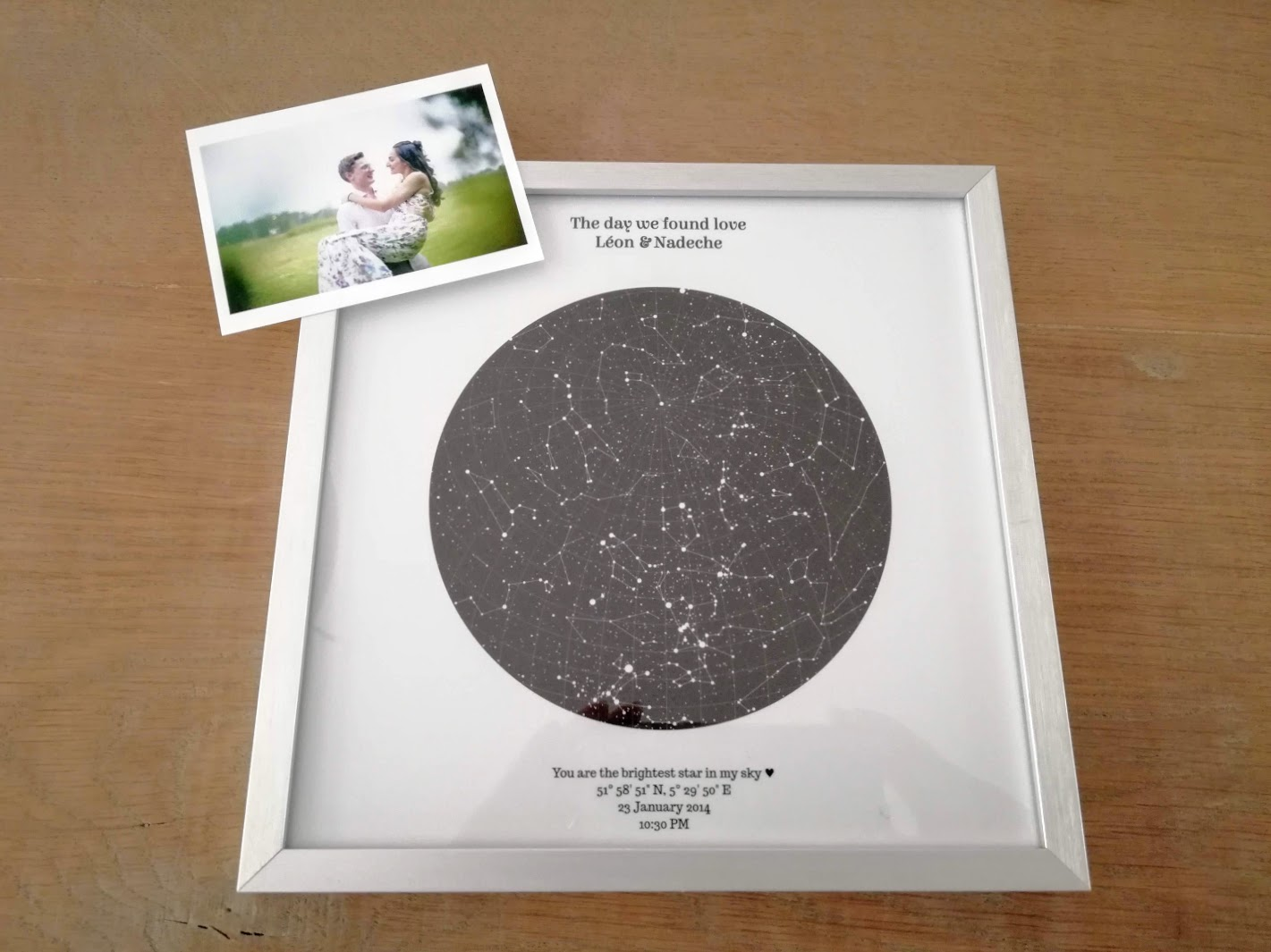 Een personalised star map als interieur item