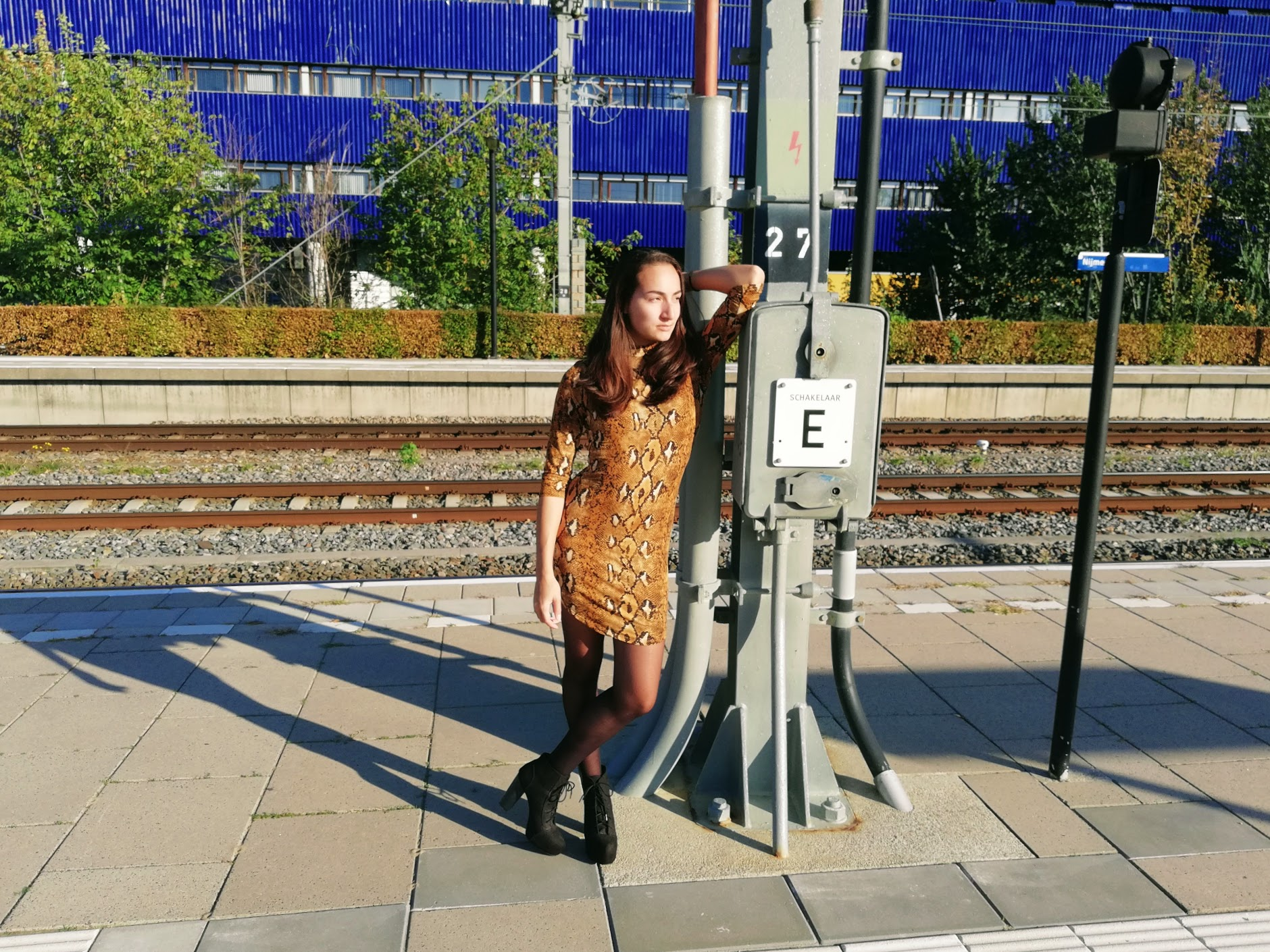 Nadeche Jocelyn met haar snake print dress van Isla Moda
