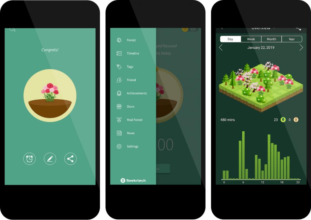Verschillende handige functies binnen de Forest App