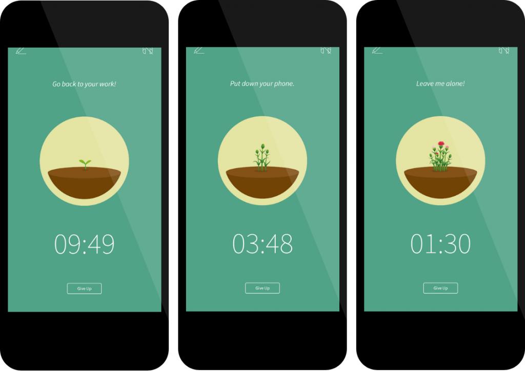 De plantjes in de Forest App groeien gedurende de tijd